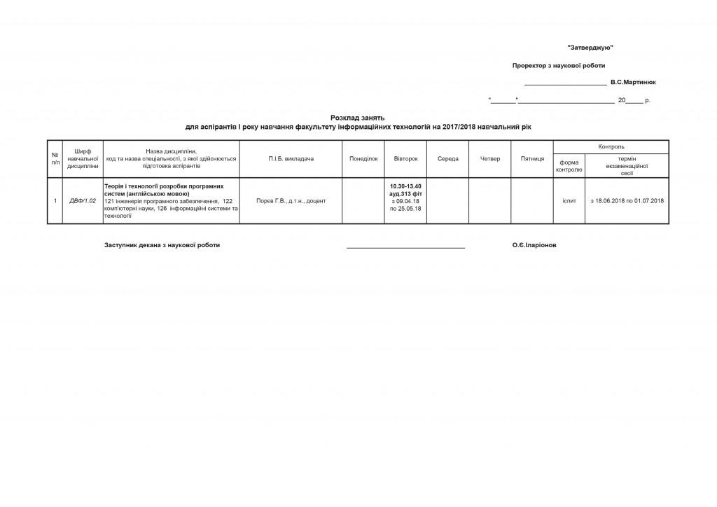 Розклад аспірантів ФІТ І р.н.-2